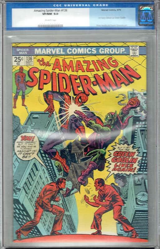 Amazing Spiderman #136 CGC 9.0 OWP